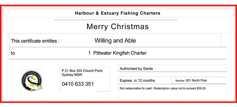 fishing gift certificate, buy gift certificate, hire fishing charter, Sydney fishing charter gift, Sydney fishing charter